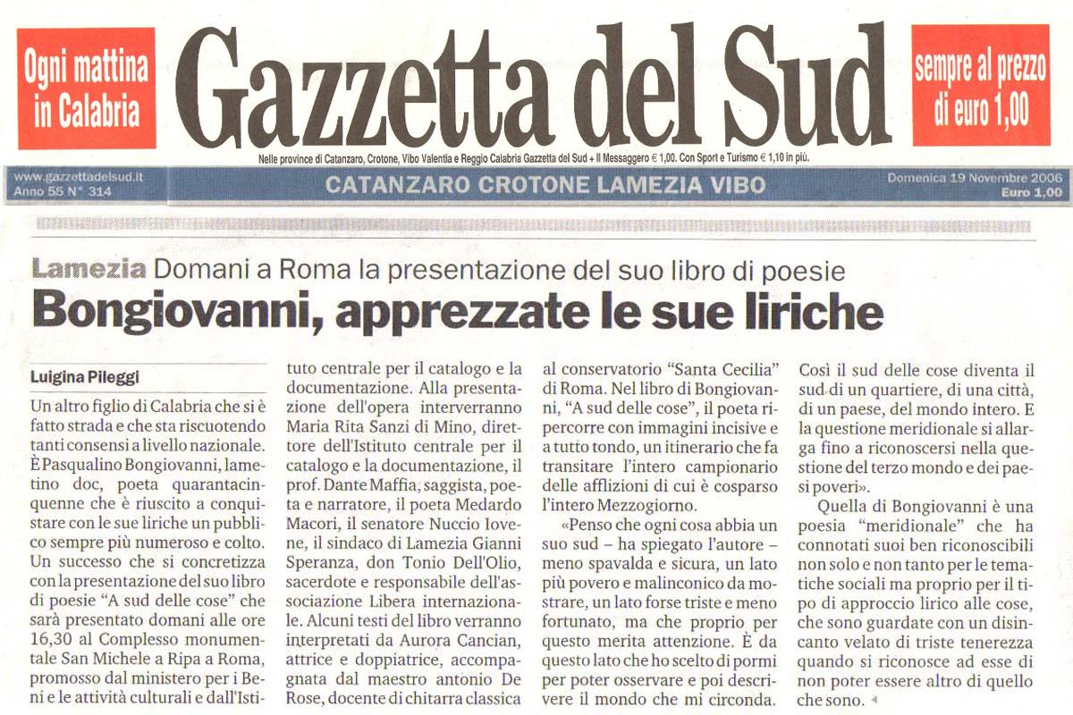 Gazzetta del sud 19 novembre 06