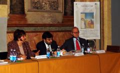 Presentazione di A sud delle cose - Complesso Monumentale San Michele a Ripa - Roma - 2006 (da sx: Maria Rita Sanzi Di Mino, Nuccio Iovene, Medardo Macori)