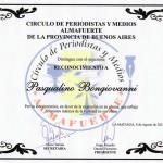 Riconoscimento rilasciato dal Circulo de periodistas y medios Almafuerte de La Matanza – Buenos Aires - 2012